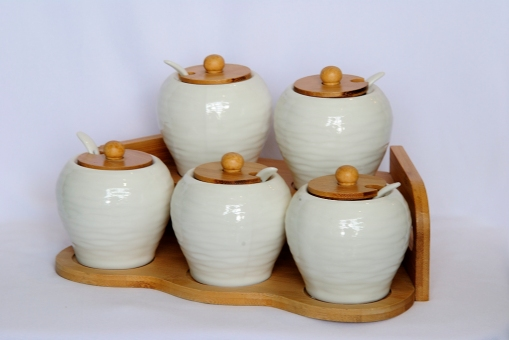 Spice Jars with Wooden stand