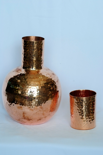 Copper water container with tumbler