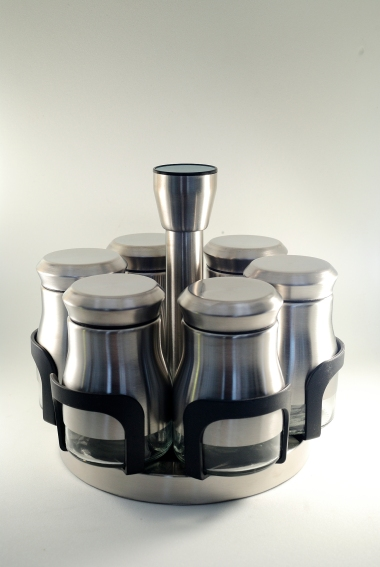 Spice dispenser set with stand